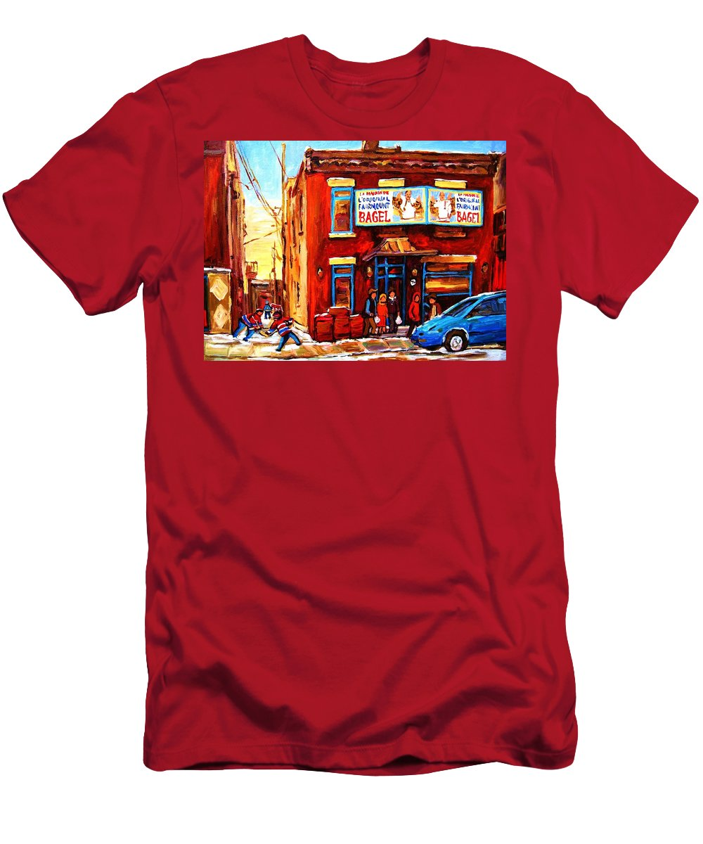 Hockey Men's T-Shirt (Athletic Fit) featuring the painting Fairmount Bagel In Winter by Carole Spandau
