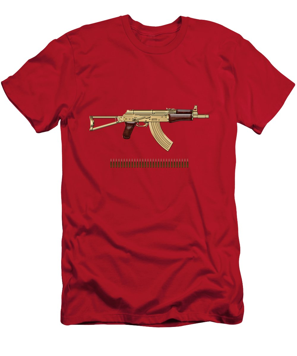 'the Armory' Collection By Serge Averbukh T-Shirt featuring the photograph Gold A K S-74 U Assault Rifle with 5.45x39 Rounds over Red Velvet  by Serge Averbukh