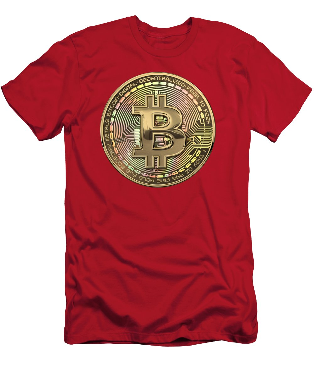 'money' Collection By Serge Averbukh Men's T-Shirt (Athletic Fit) featuring the photograph Gold Bitcoin Effigy Over Red Canvas by Serge Averbukh