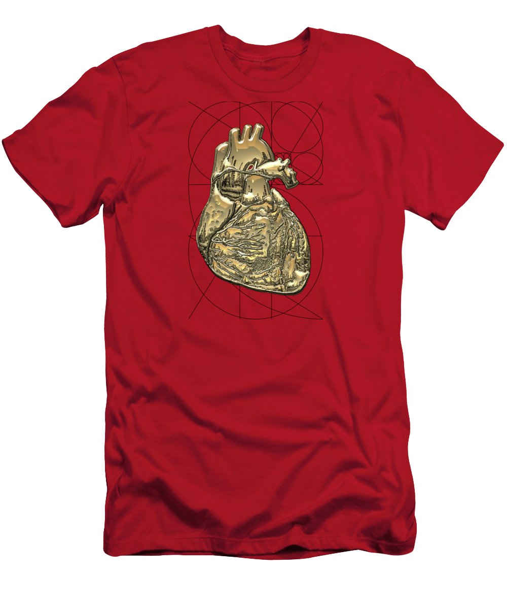 �inner Workings� Collection By Serge Averbukh T-Shirt featuring the photograph Heart of Gold - Golden Human Heart on Red Canvas by Serge Averbukh