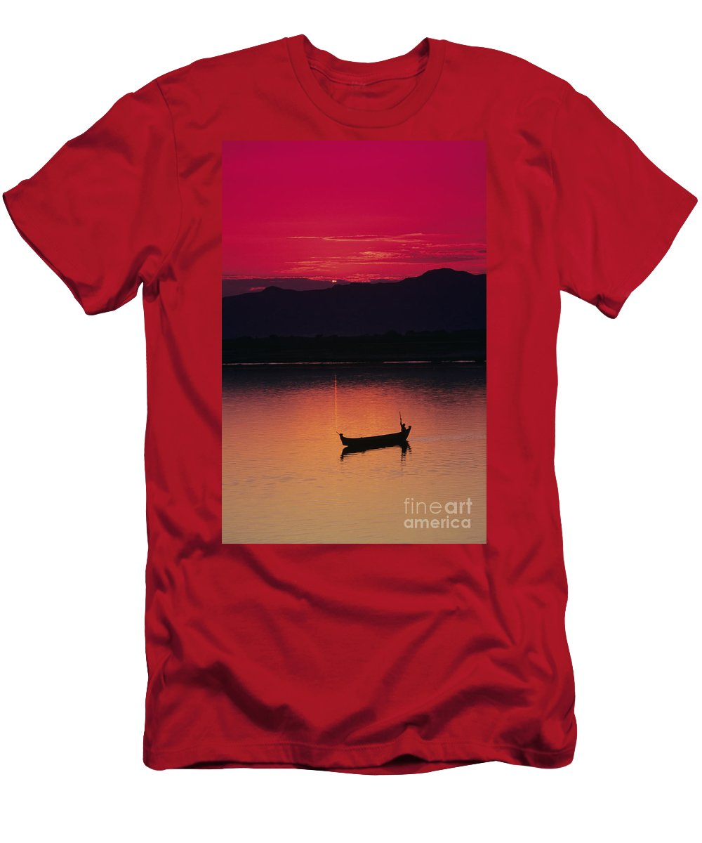 Bagan Men's T-Shirt (Athletic Fit) featuring the photograph Irrawaddy River by Gloria & Richard Maschmeyer - Printscapes