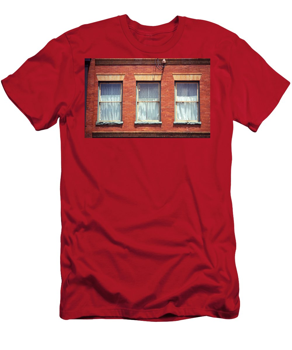 America Men's T-Shirt (Athletic Fit) featuring the photograph Jonesborough Tennessee Three Windows by Frank Romeo