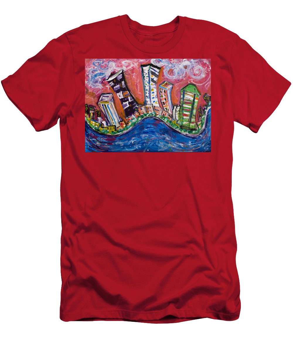 New York Skyline Manhattan Men's T-Shirt (Athletic Fit) featuring the painting Nyc Impressions 3 by Jason Gluskin