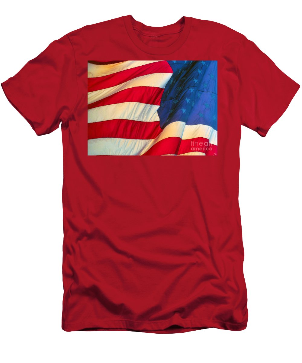 Old Glory Men's T-Shirt (Athletic Fit) featuring the painting Old Glory by David Lee Thompson