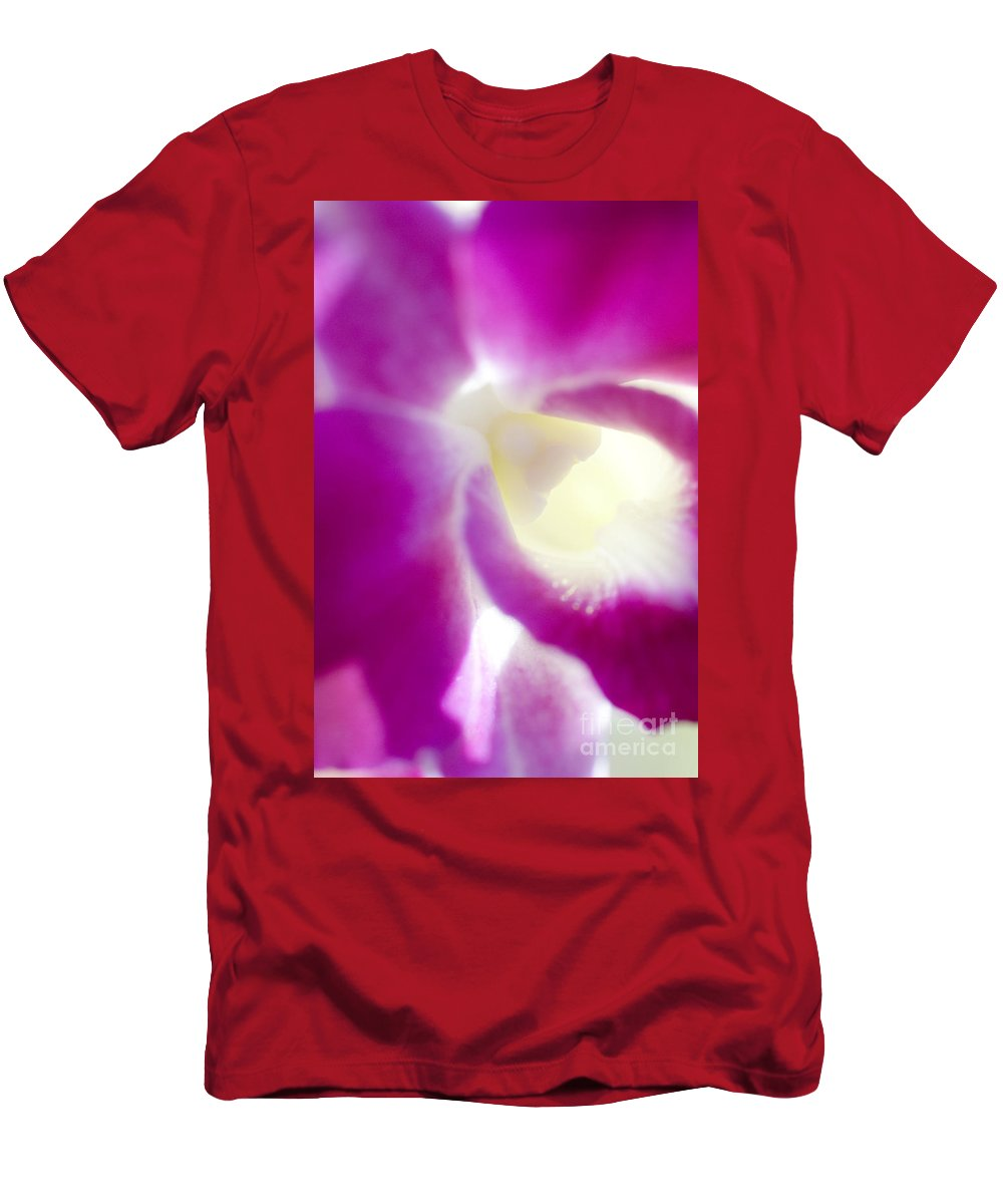 83-pfs0174 Men's T-Shirt (Athletic Fit) featuring the photograph Orchid Abstract by Ray Laskowitz - Printscapes