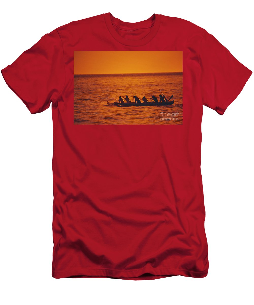 Allan Seiden Men's T-Shirt (Athletic Fit) featuring the photograph Outrigger Canoe by Allan Seiden - Printscapes