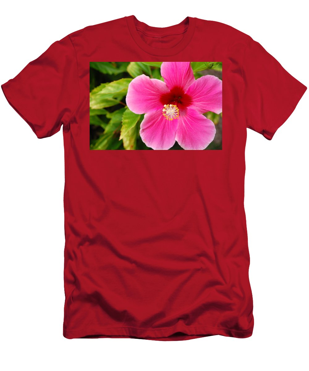 Flower Men's T-Shirt (Athletic Fit) featuring the photograph Pink Hibiscus by Amy Fose