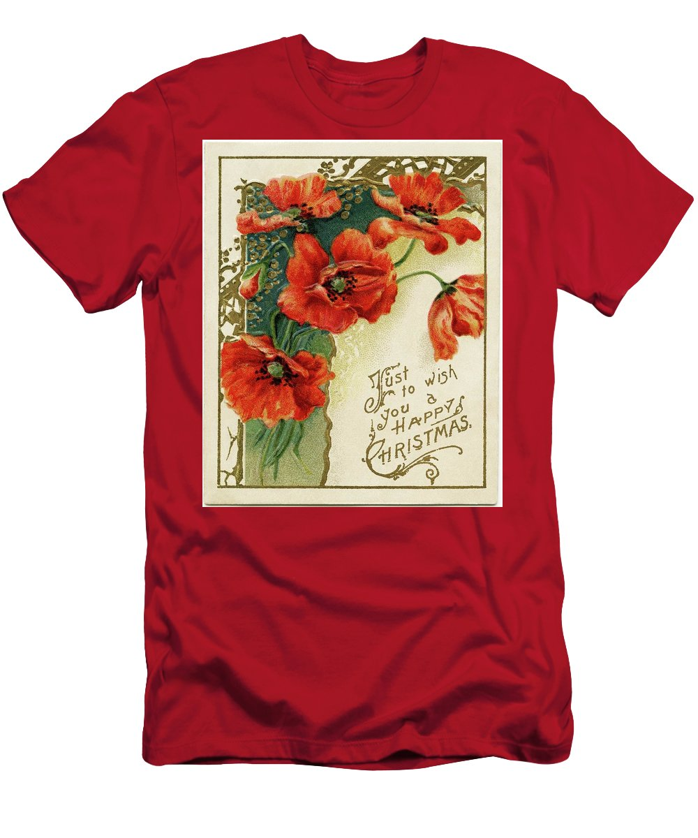 Victorian Christmas Card ~ Poppies Men's T-Shirt (Athletic Fit) featuring the painting Poppies by MotionAge Designs