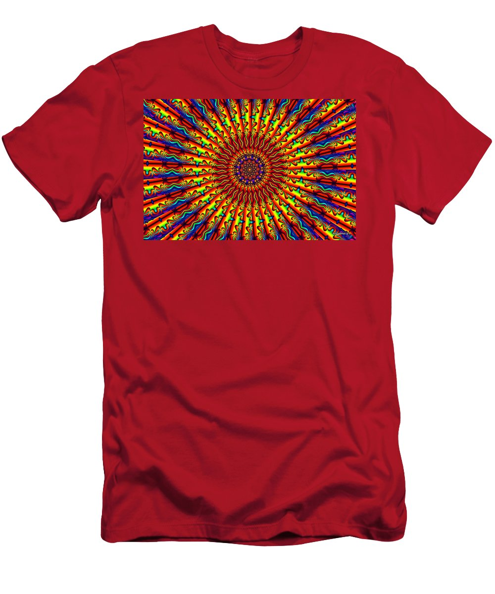 Multicolor Men's T-Shirt (Athletic Fit) featuring the digital art Rainbow River by Robert Orinski