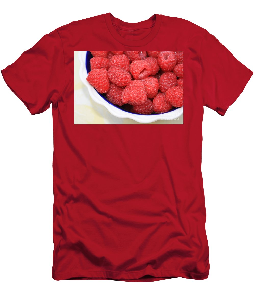 Raspberries Men's T-Shirt (Athletic Fit) featuring the photograph Raspberries In Polish Pottery Bowl by Carol Groenen