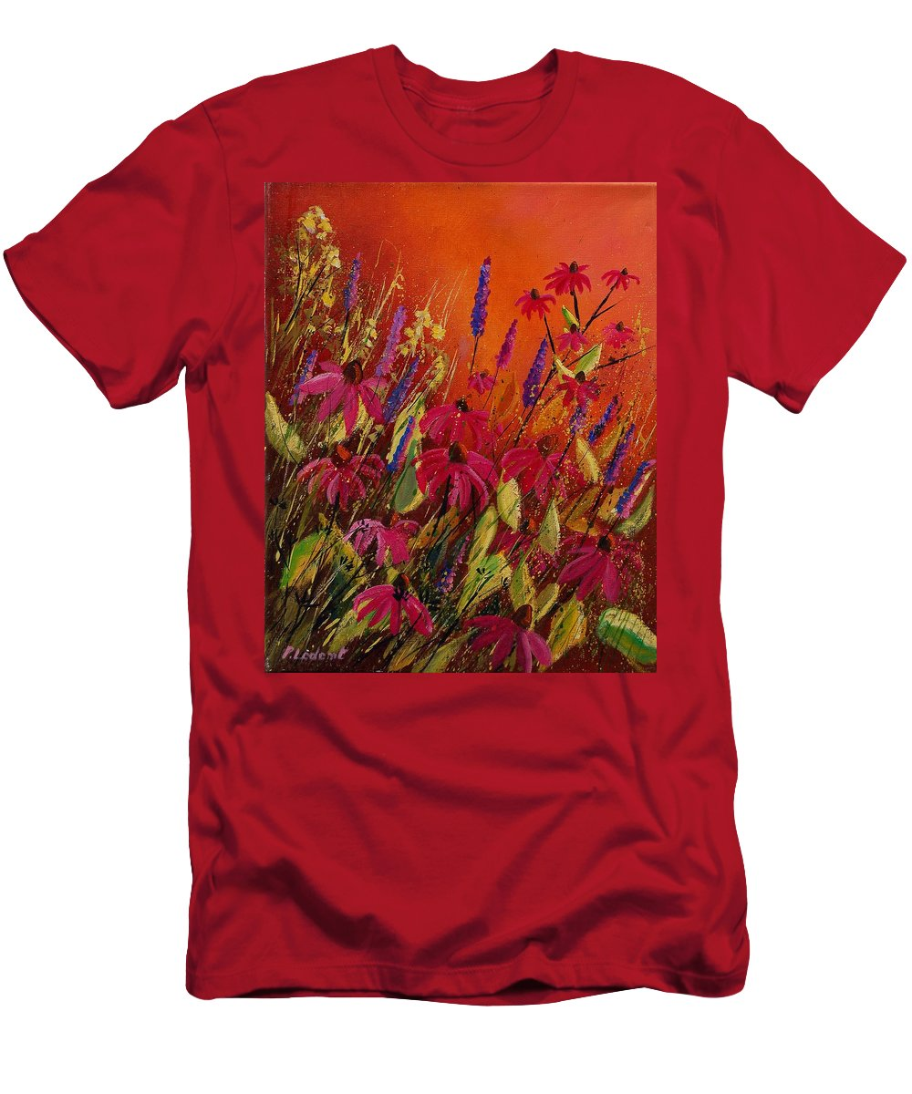 Flowers Men's T-Shirt (Athletic Fit) featuring the painting Rudbeckias And Lyatris by Pol Ledent