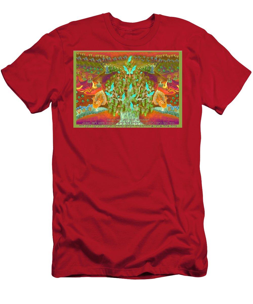 Sukkot Men's T-Shirt (Athletic Fit) featuring the digital art Sukkot- Prayer In The Sukkah by Sandrine Kespi