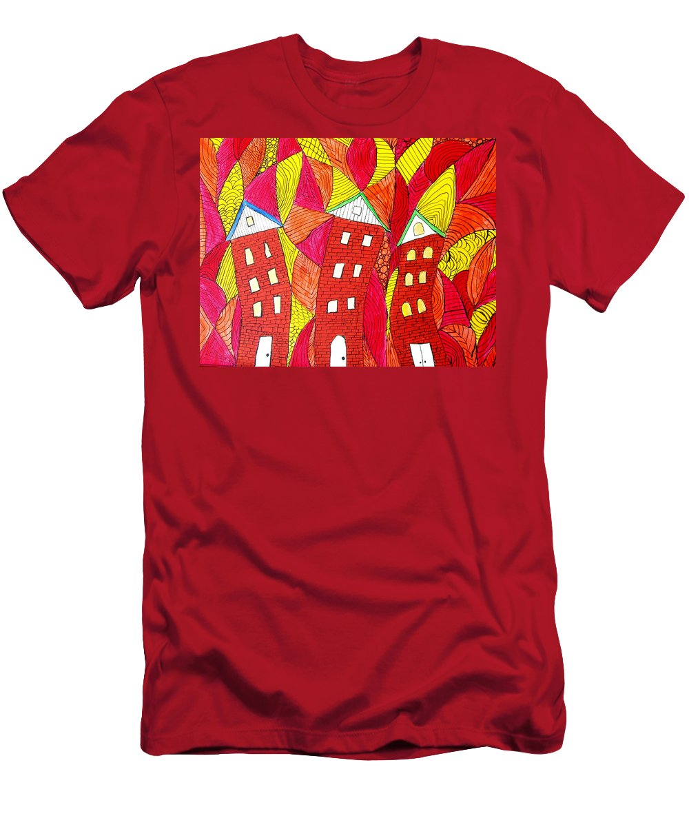 Houses Men's T-Shirt (Athletic Fit) featuring the painting Summer In The City by Wayne Potrafka