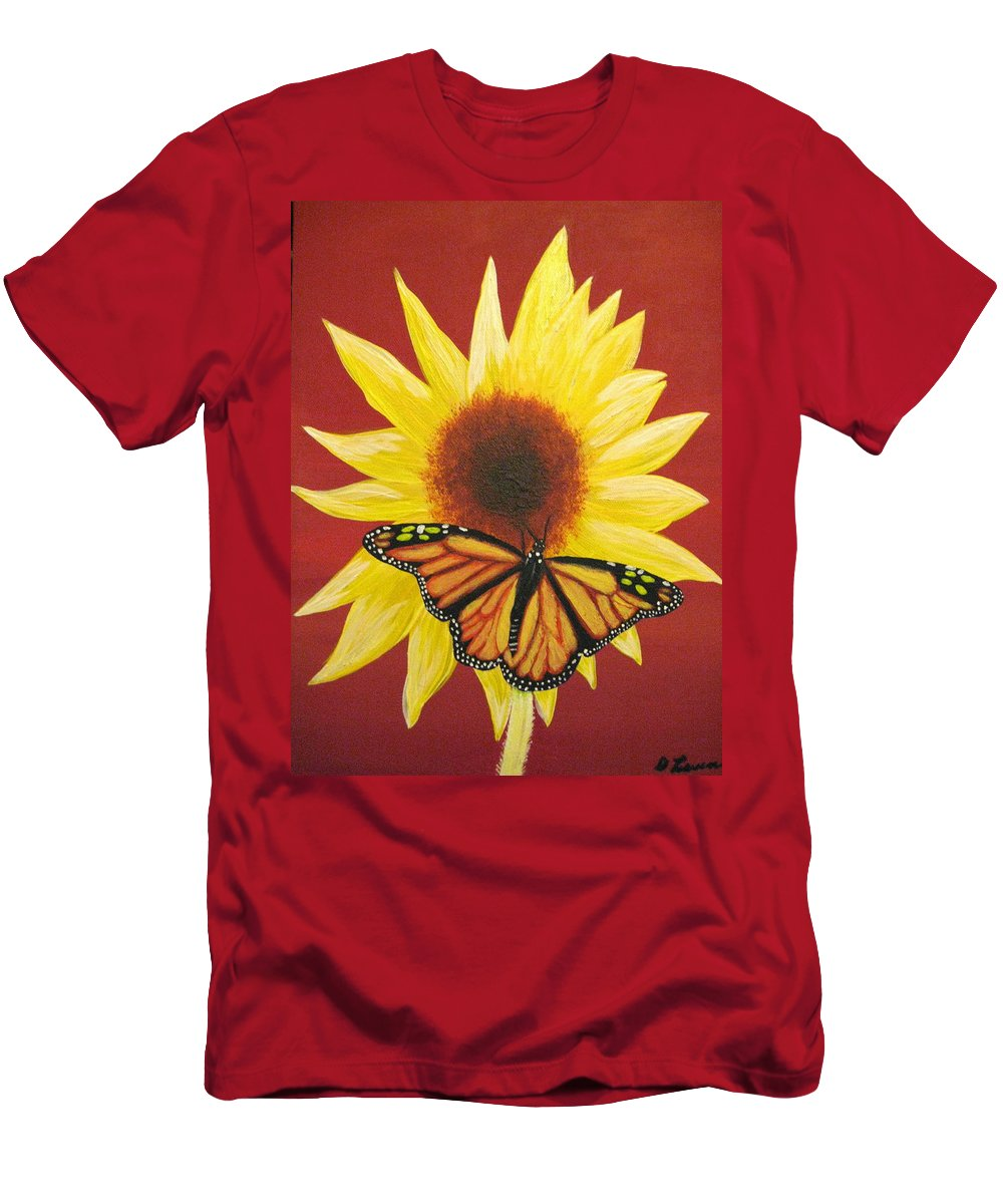Sunflower T-Shirt featuring the painting Sunflower Monarch by Debbie Levene