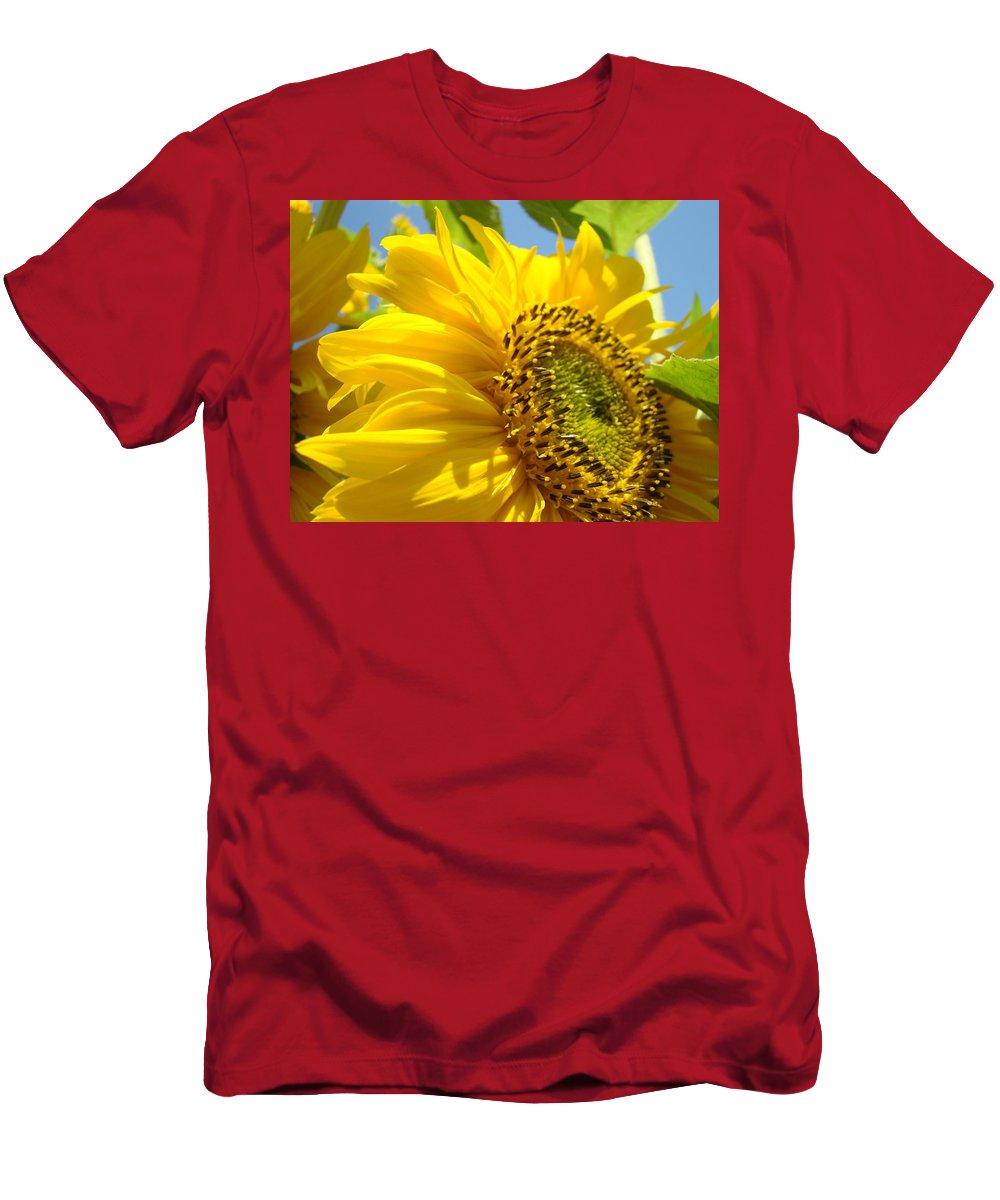 Sunflower Men's T-Shirt (Athletic Fit) featuring the photograph Sunflowers Art Prints Sun Flower Giclee Prints Baslee Troutman by Baslee Troutman