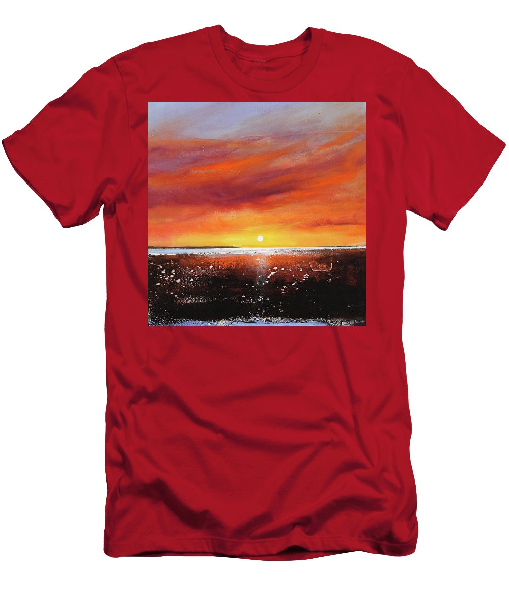 Sunrise Men's T-Shirt (Athletic Fit) featuring the painting Sunrise Beach by Toni Grote
