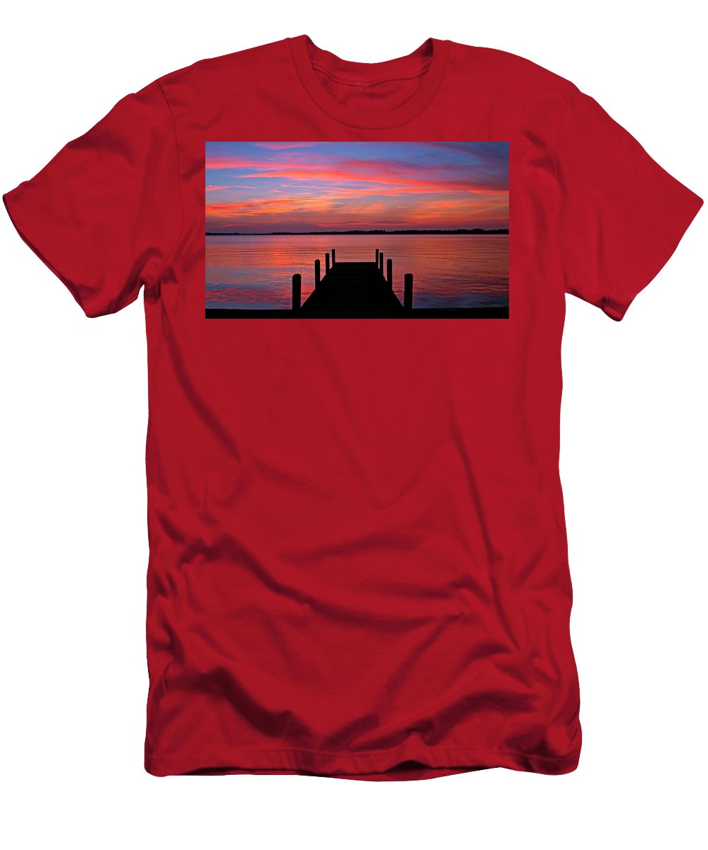 Dock Men's T-Shirt (Athletic Fit) featuring the photograph Sunset Dock by Scott Mahon