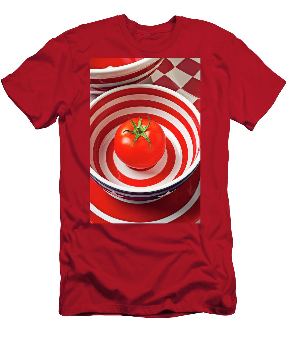 Tomato Men's T-Shirt (Athletic Fit) featuring the photograph Tomato In Red And White Bowl by Garry Gay