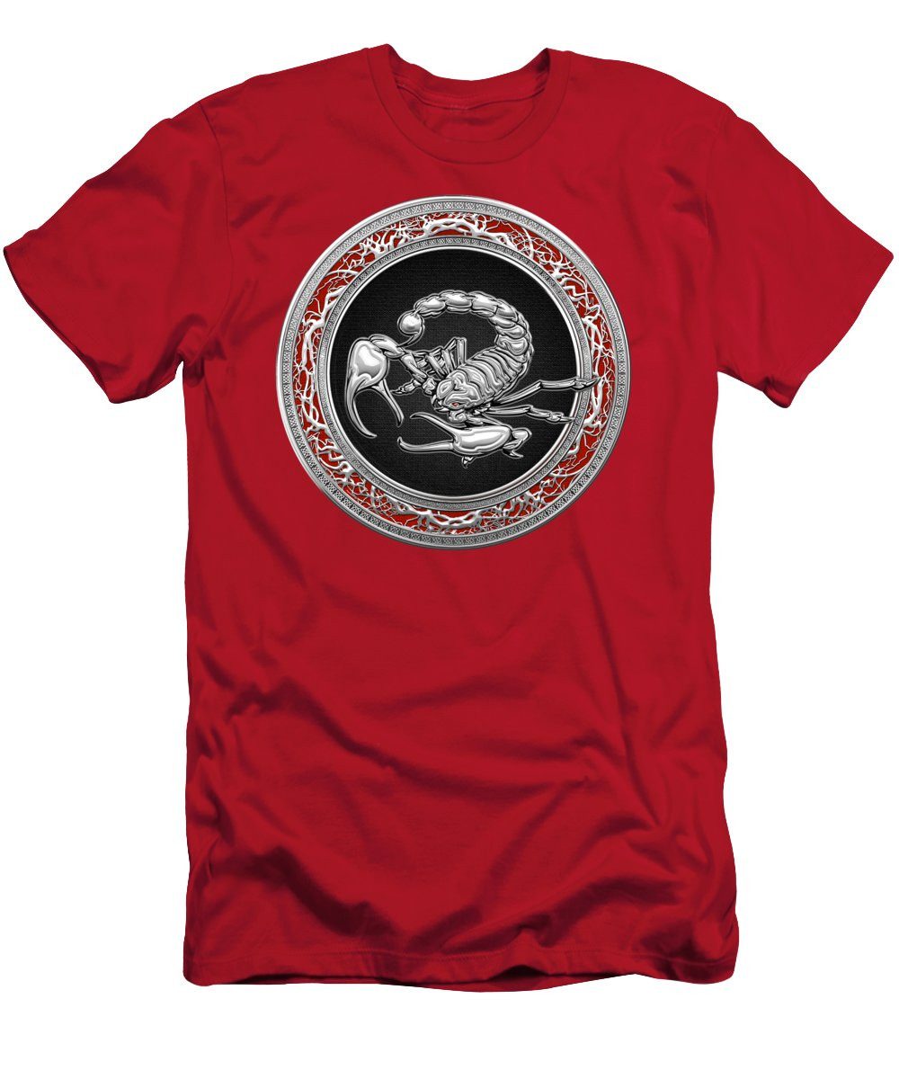 �treasure Trove � By Serge Averbukh Men's T-Shirt (Athletic Fit) featuring the photograph Treasure Trove - Sacred Silver Scorpion On Red by Serge Averbukh