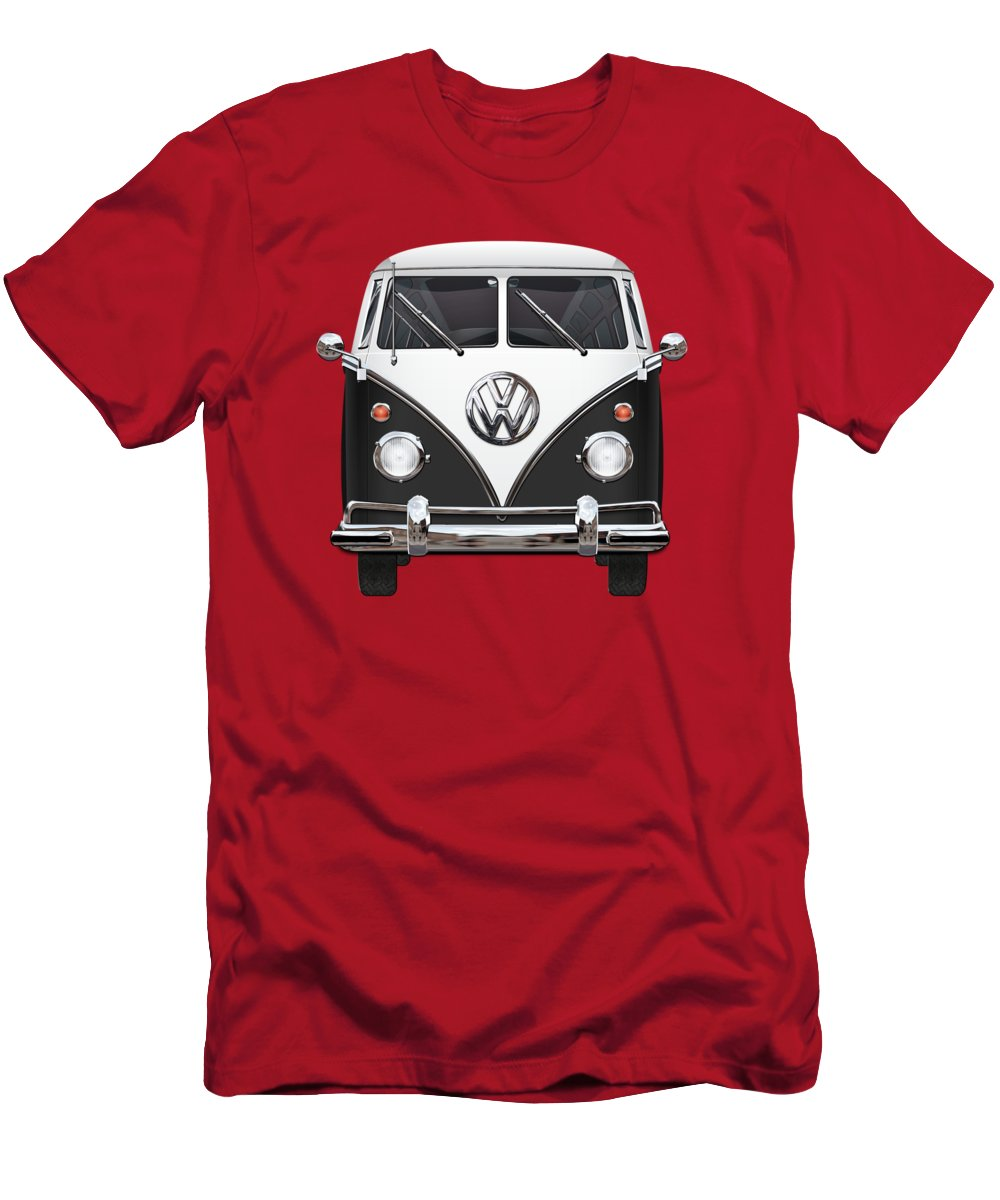 'volkswagen Type 2' Collection By Serge Averbukh Men's T-Shirt (Athletic Fit) featuring the photograph Volkswagen Type 2 - Black And White Volkswagen T 1 Samba Bus On Red by Serge Averbukh