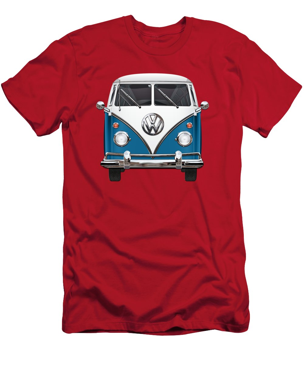 'volkswagen Type 2' Collection By Serge Averbukh T-Shirt featuring the photograph Volkswagen Type 2 - Blue and White Volkswagen T 1 Samba Bus over Orange Canvas by Serge Averbukh
