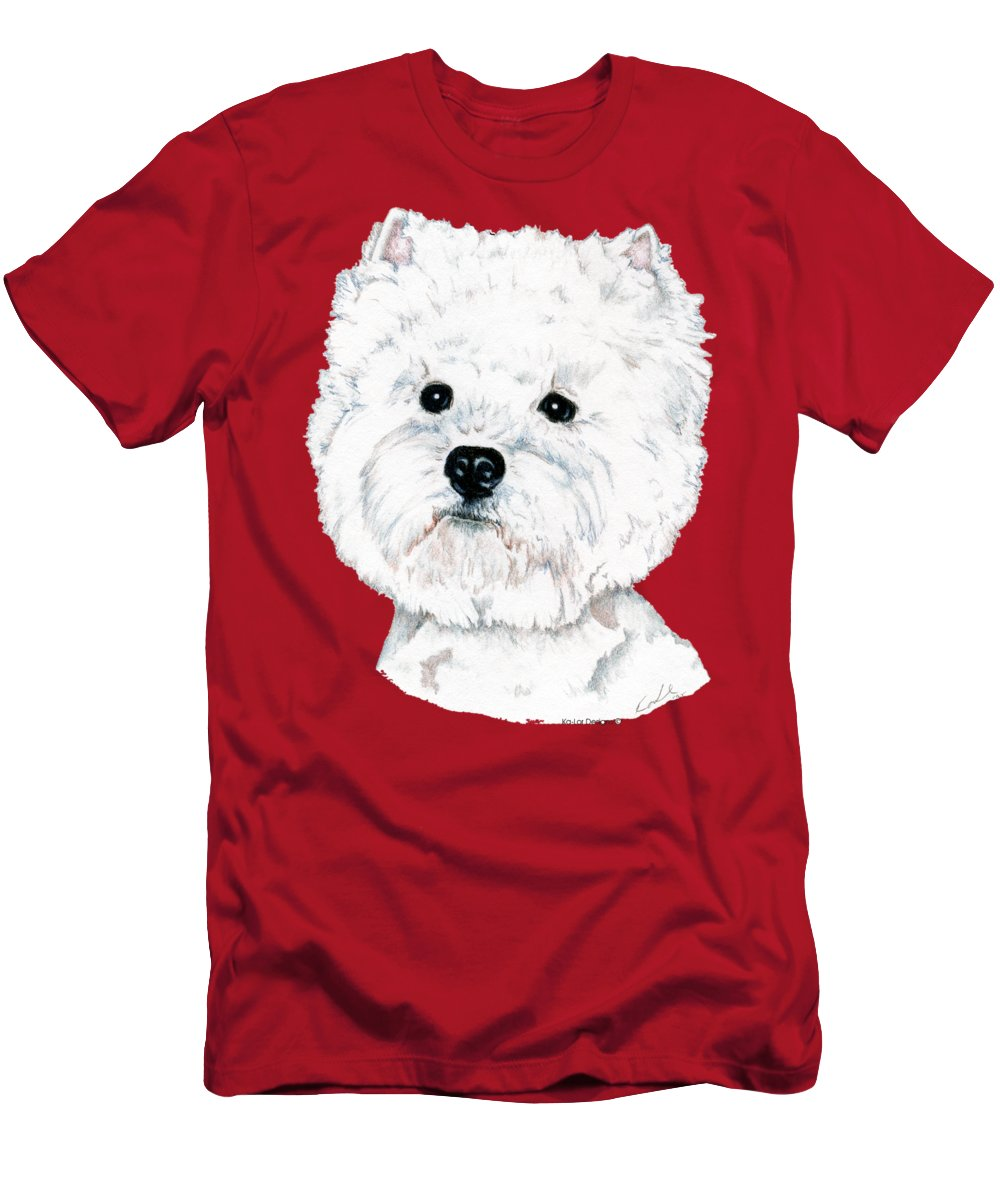West Highland White Terrier T-Shirt featuring the drawing West Highland White Terrier, Westie by Kathleen Sepulveda