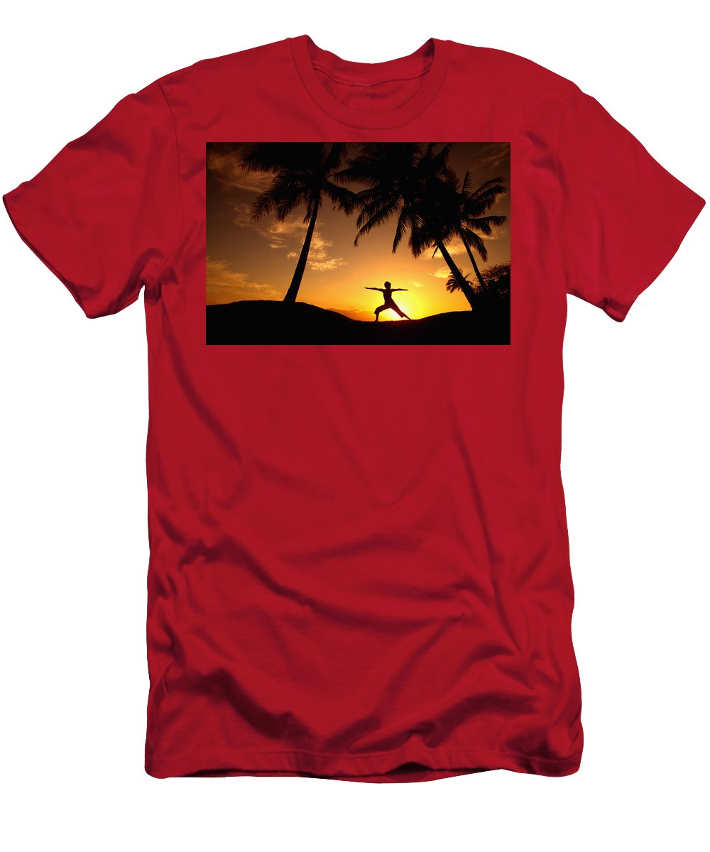 Air Men's T-Shirt (Athletic Fit) featuring the photograph Yoga At Sunset by Ron Dahlquist - Printscapes