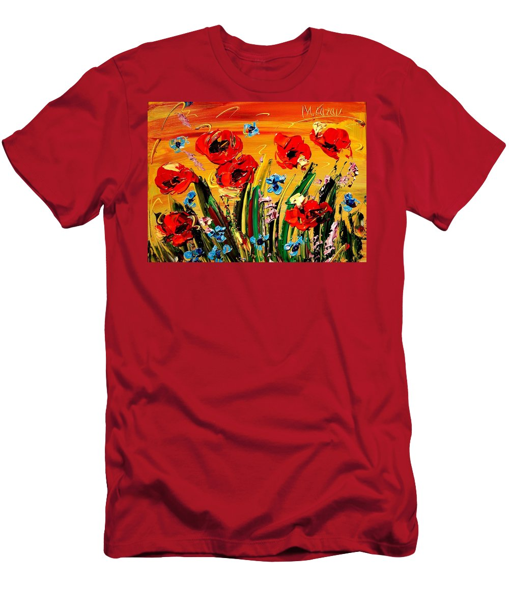 Impressionist Framed Prints Men's T-Shirt (Athletic Fit) featuring the mixed media Poppies by Mark Kazav
