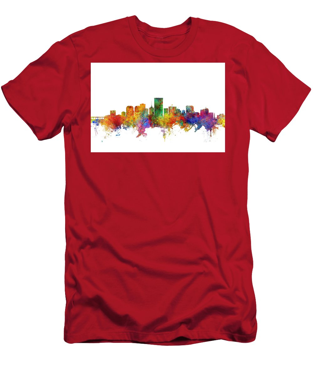 Richmond Men's T-Shirt (Athletic Fit) featuring the digital art Richmond Virginia Skyline by Michael Tompsett