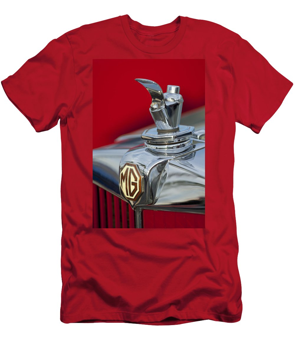 1947 Mg Tc Men's T-Shirt (Athletic Fit) featuring the photograph 1947 Mg Tc Non-standard Hood Ornament by Jill Reger