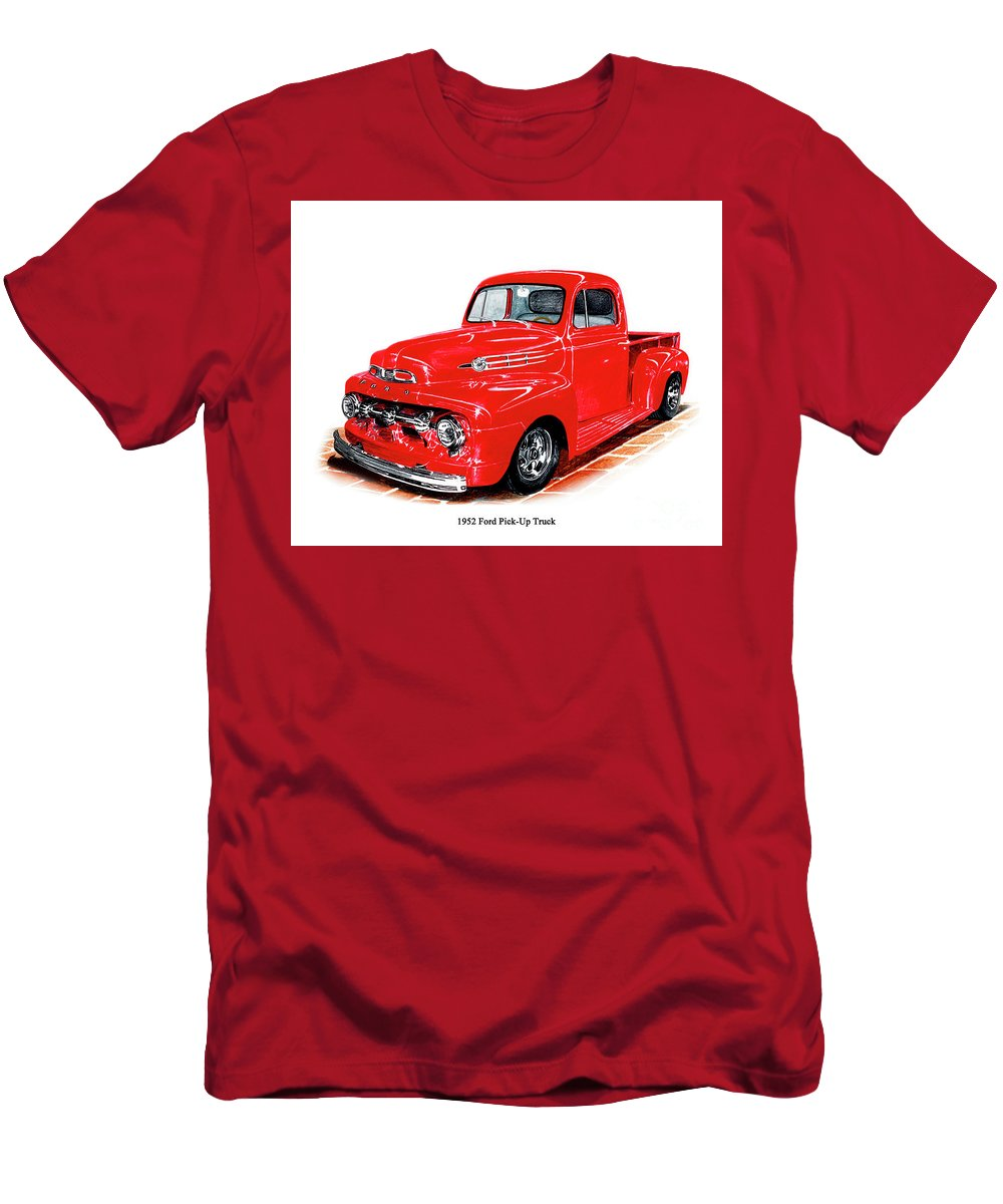 A Pencil Drawing Of A Red Ford Pick Up Truck Men's T-Shirt (Athletic Fit) featuring the drawing 1952 Ford Pick Up Truck by Jack Pumphrey