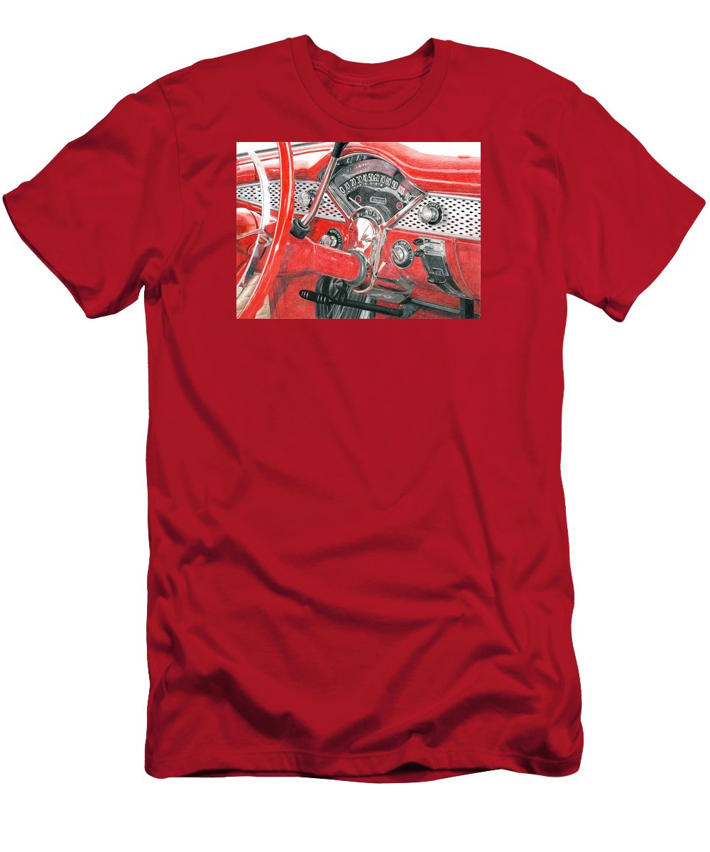 Classic Men's T-Shirt (Athletic Fit) featuring the drawing 1955 Chevrolet Bel Air by Rob De Vries