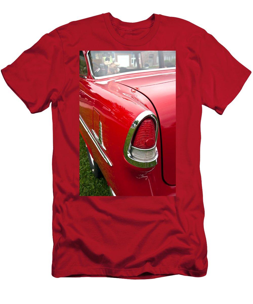 1955 Chevrolet Bel Air Tail Light Men's T-Shirt (Athletic Fit) featuring the photograph 1955 Chevrolet Bel Air Tail Light by Glenn Gordon