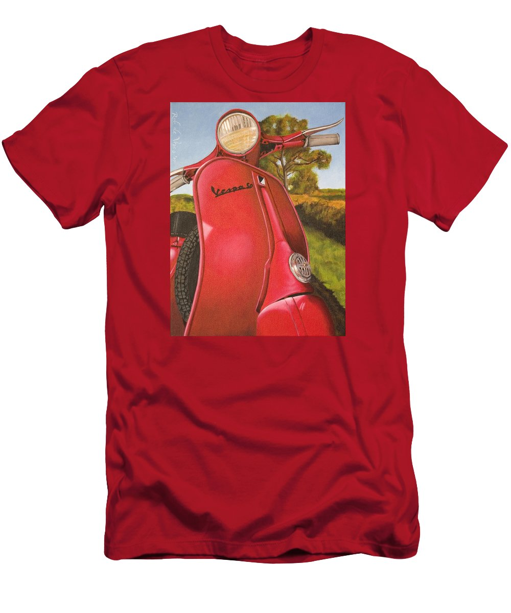 Scooter Men's T-Shirt (Athletic Fit) featuring the painting 1963 Vespa 50 by Rob De Vries