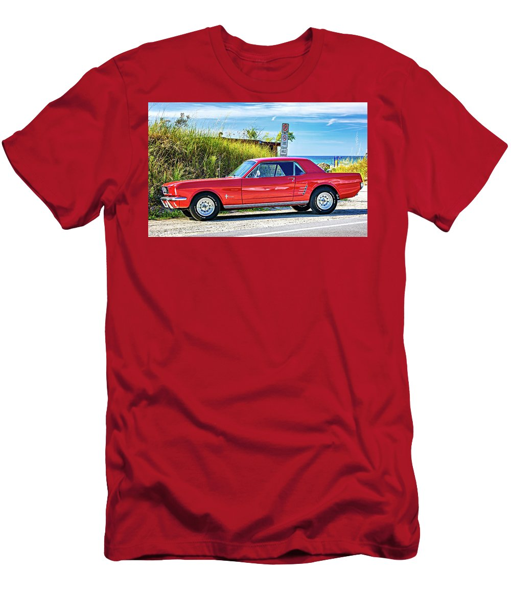 Steve Harrington Men's T-Shirt (Athletic Fit) featuring the photograph 1965 Mustang 1965 by Steve Harrington