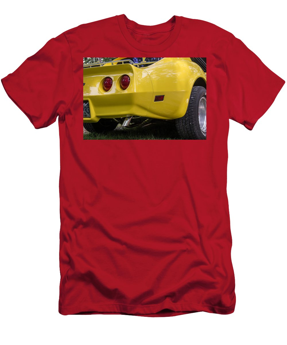 Robert Kinser Men's T-Shirt (Athletic Fit) featuring the photograph 1976 Corvette Stingray Taillights by Robert Kinser