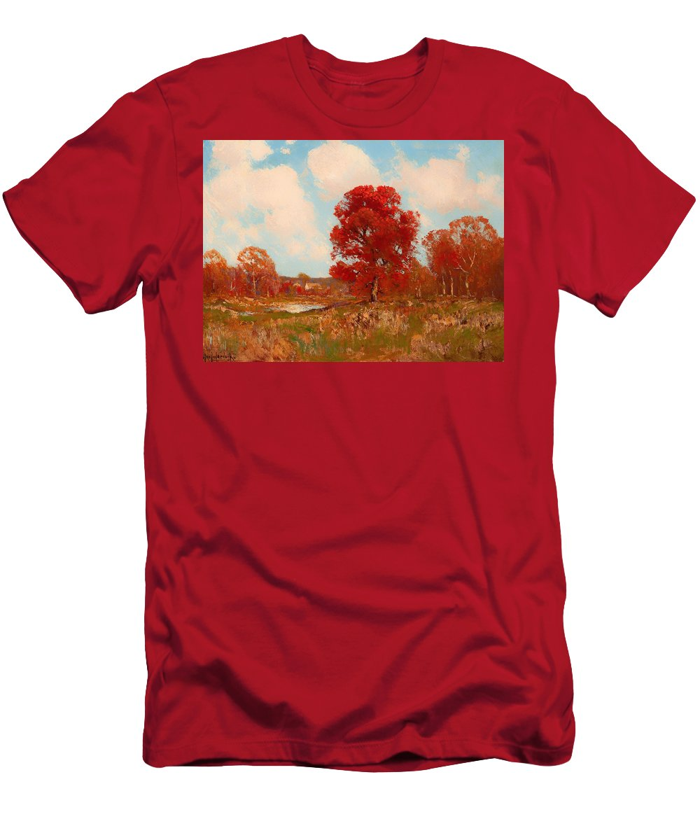 Painting Men's T-Shirt (Athletic Fit) featuring the painting Fall Landscape by Mountain Dreams