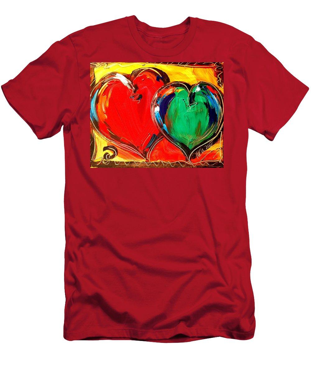 Men's T-Shirt (Athletic Fit) featuring the mixed media 2 Hearts by Mark Kazav