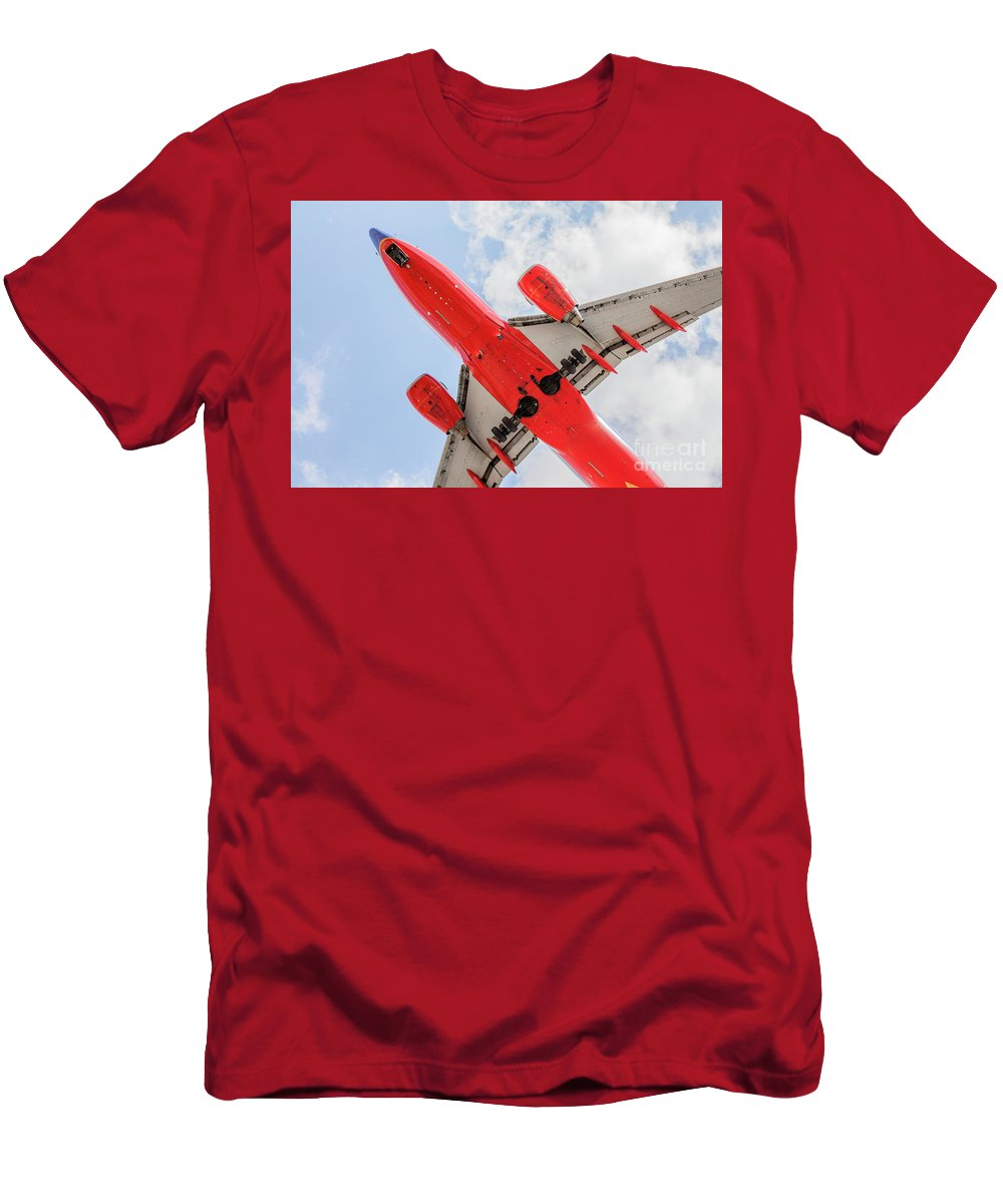 Commercial Men's T-Shirt (Athletic Fit) featuring the photograph Passenger Jet Coming In For Landing by PhotoStock-Israel