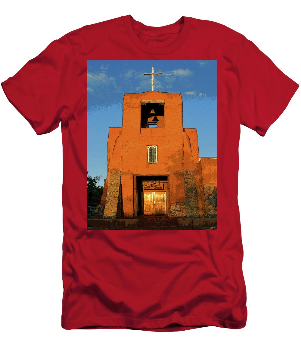 Art Men's T-Shirt (Athletic Fit) featuring the painting San Miguel Mission Church by David Lee Thompson