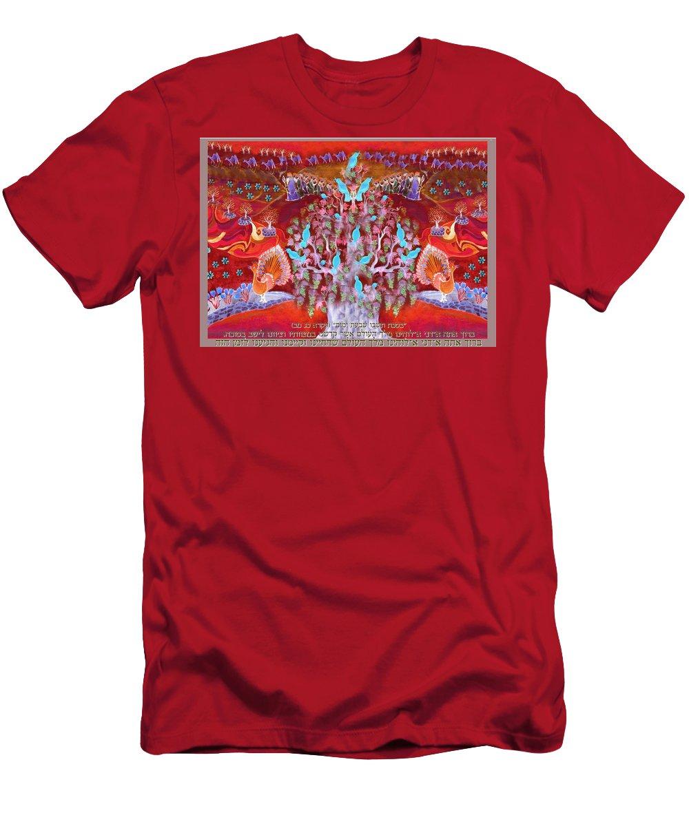 Blessing Men's T-Shirt (Athletic Fit) featuring the digital art Sukkot- Prayer In The Sukkah by Sandrine Kespi