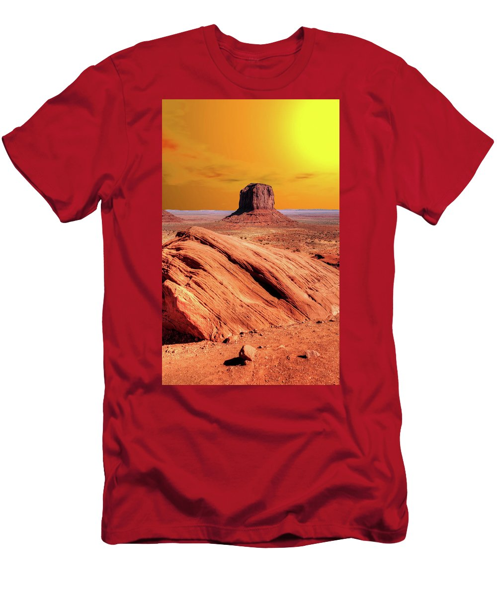 Sunrise Men's T-Shirt (Athletic Fit) featuring the photograph Sunrise Monument Valley by Paul Moore