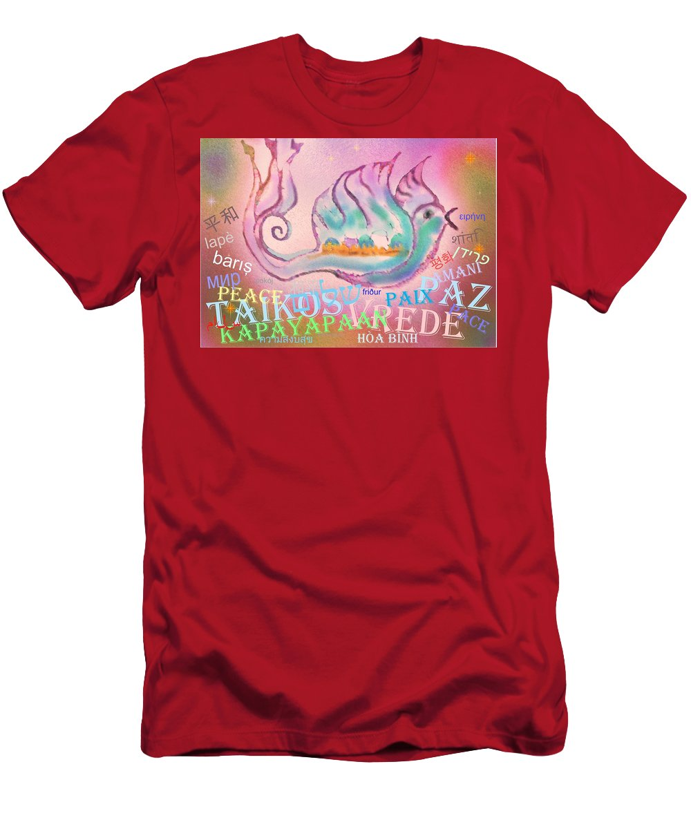 Peace Men's T-Shirt (Athletic Fit) featuring the digital art Peace All Over The World by Sandrine Kespi