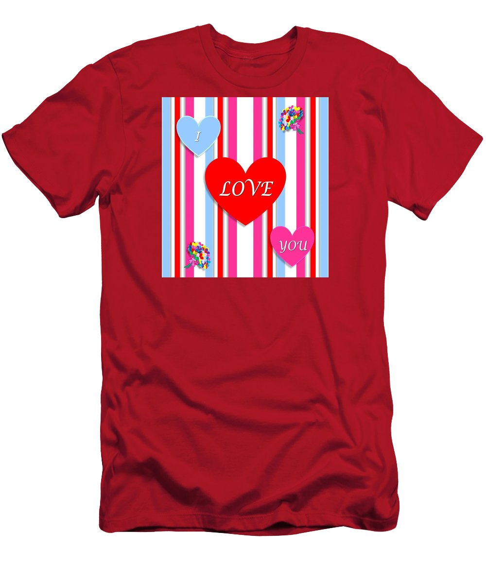 Valentine Men's T-Shirt (Athletic Fit) featuring the mixed media Valentines by FL collection