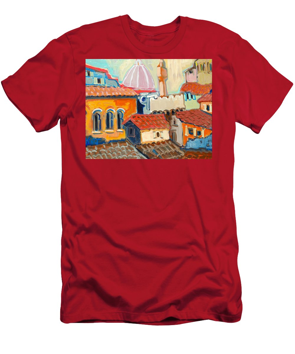 Italy Men's T-Shirt (Athletic Fit) featuring the painting Florence by Kurt Hausmann