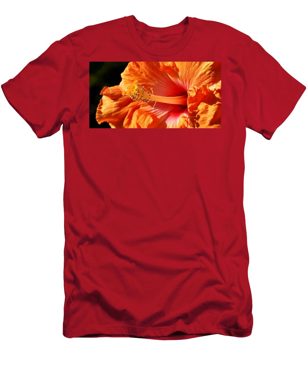 Close Up; Hibiscus; Blossom; Sunlight; Floral; Flower; Garden; Background; Petals; Decorative; Macro; Yellow; Inside; Flora; Bush; Sun; Detail; Orange; Red; Men's T-Shirt (Athletic Fit) featuring the photograph orange Hibiscus blossom by Werner Lehmann