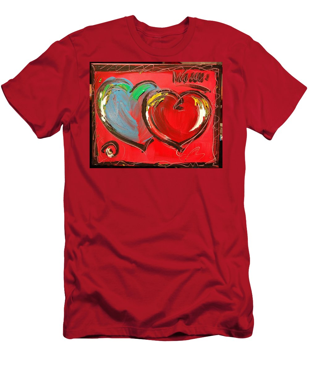 Impressionist Framed Prints Men's T-Shirt (Athletic Fit) featuring the mixed media Hearts by Mark Kazav