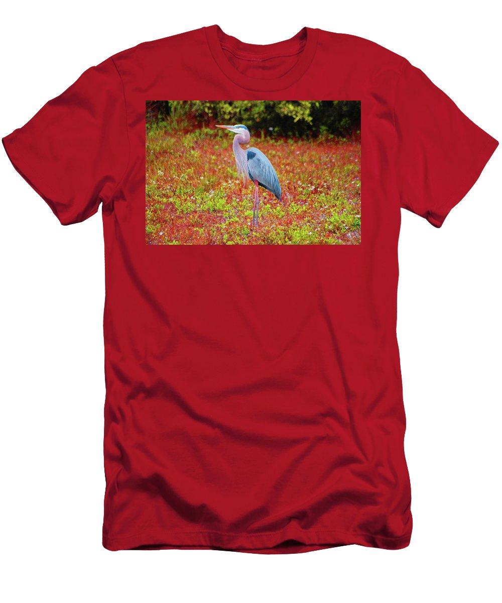 Blue Heron Men's T-Shirt (Athletic Fit) featuring the digital art 33- Magic Garden by Joseph Keane