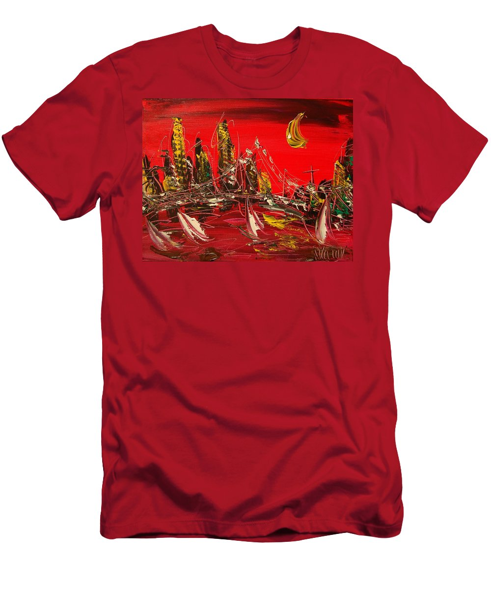 Impressionist Framed Prints Men's T-Shirt (Athletic Fit) featuring the mixed media Nude by Mark Kazav