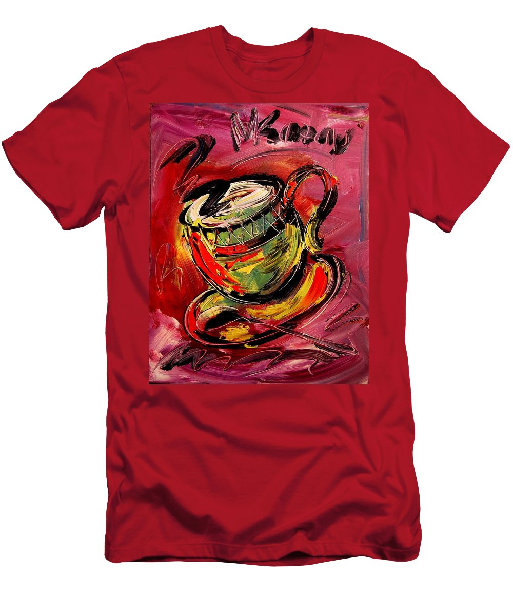 Impressionist Framed Prints Men's T-Shirt (Athletic Fit) featuring the mixed media Coffee by Mark Kazav